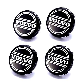 Black Volvo Car Wheel Center Caps Hub Cover 65mm 4 PCS For C70, S60, V60, V70