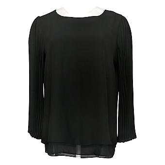 Laurie Felt Women's Top Printed Woven Blouse Pleated Sleeves Black A346618