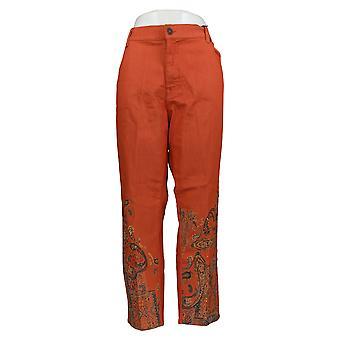 DG2 di Diane Gilman Women's Petite Jeans Orange Paisley Cotton 728-914