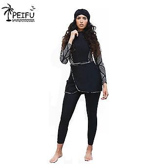 Swimwear Women Modest Patchwork Hijab Long Sleeves Sport Swimsuit Bathing