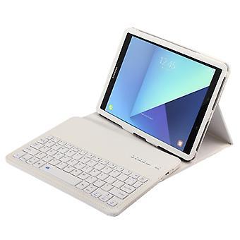 ل Galaxy Tab S3 9.7 / T820 2 في 1 بلوتوث قابل للفصل لوحة المفاتيح الليتشي الملمس حقيبة الجلود مع حامل (أبيض)