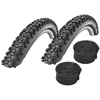 "Velo.Set 2 x Schwalbe Black Jack Bicycle Tires = 54-559 (26×2.1"") + Hoses"