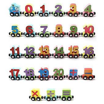 Número de coches de tren mini animal magnético, Alphabet Kids Educativo