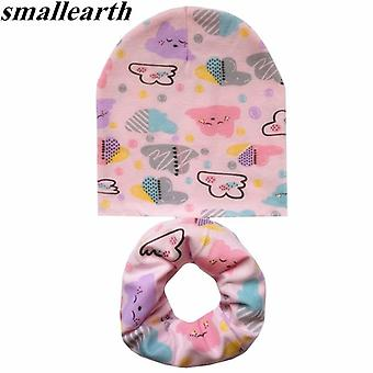 2pcs/set Cotton Baby Hat Scarf Spring Cartoon Print's Caps Scarves Soft Beanie