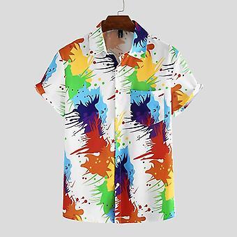 الرجال قميص قصير الأكمام Lapel طباعة عارضة الصيف القمصان ملابس الشوارع