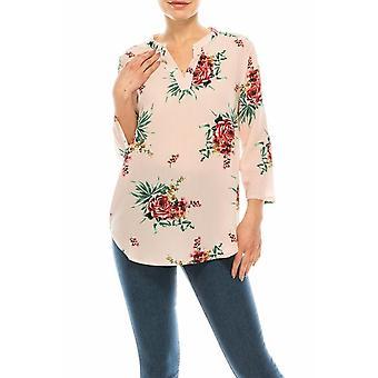 ProfilBekleidung rosa gestreift & Rose gedruckt Split Necklined Top