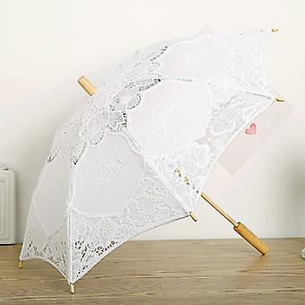 Black Lace Umbrella Parasol Romantic Wedding Decorated Lace Embroidery Sun