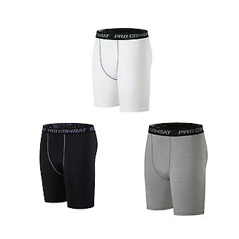L Size 3 Pack Men's Compression Track Shorts Three Colors Sports Shorts