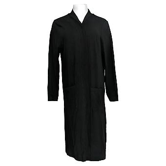 Isaac Mizrahi Live! Women's Sweater Open Front Knit Cardigan Black A374242