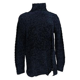 Denim & Co. Women's Sweater Chenille Long-Sleeve Blue A372295