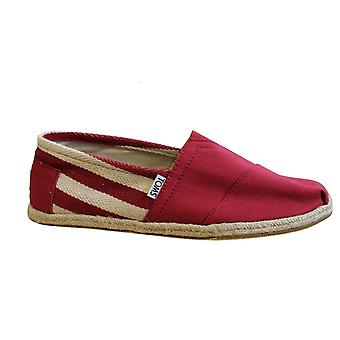 Toms Classic Red Stripe University Canvas Slip On Mens Espadrille Shoes 10005420