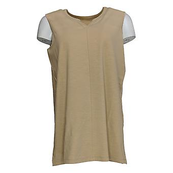 Denim & Co. Women's Top Texture Knit V-Neck Sleeveless Tunic Beige A354173
