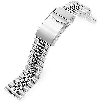 20mm Super-J Louis 316L Stainless Steel Watch Bracelet Straight End, V-Clasp Brushed