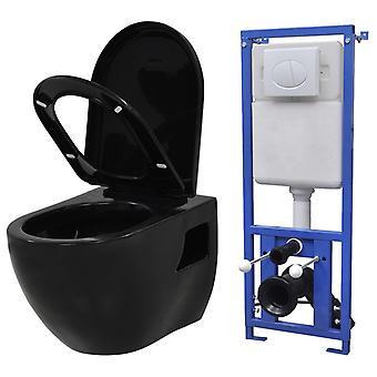 Hänge-Toilette mit Einbau-Spülkasten Keramik Schwarz