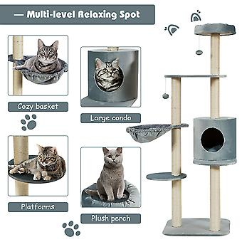 Cat Tree Kittens Activity Centre Cat Tower W/ Condo Perch Scratching Post & Toys