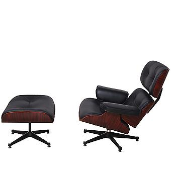 Genuine Leather Mid Century Lounge Chair With Ottoman