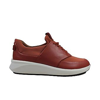 Clarks Un Rio Lace Brick Red Leather Womens Lace Up Casual Trainer Shoes