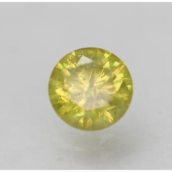 Cert 0.44 Carat Canary Yellow SI3 Round Brilliant Enhanced Natural Diamond 4.76m