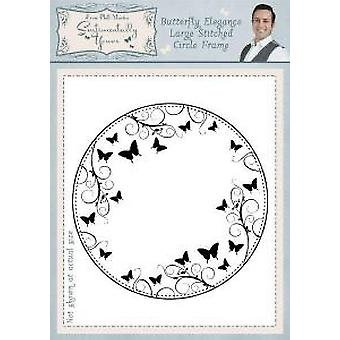 Sentimentally Yours Butterfly Elegance Large Stitched Circle Frame Pre Cut Stamp