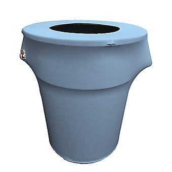 La Linen Stretch Spandex Trash Can Cover 44-Gallon Round,Light Blue
