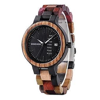 P14 Wood Watch Lover Para Zegarki Mężczyźni Kobiety Kwarcowe Data Tygodnia