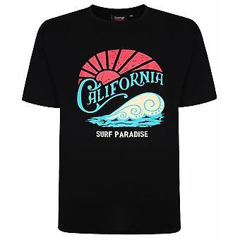 ESPIONAGE Espionage Mens Big Size Cotton California Surf Crew Neck T Shirt Black