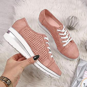 New Women Wedge Shoes Summer Casual Canvas Sneakers Breathable Platform Meddle