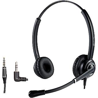 Wokex 2,5mm Telefon Headset mit Noise Cancelling Mikrofon CallCenter Headset Festnetztelefone