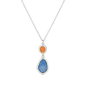 Silver mässing halsband monterad med en blå aventurin - Luce -apos;