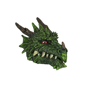 Hand Painted Green Dragon Head Treasure / Trinket Box 6.5 Inches Long