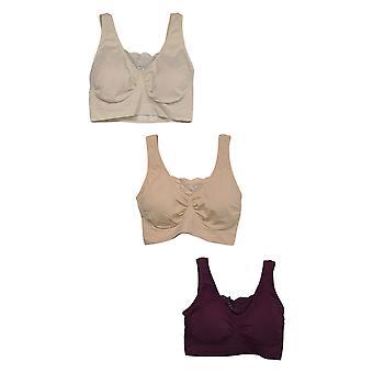 Rhonda Shear Women's 3-pack Cotton Blend Ahh Bra Lace Inset Beige 679965