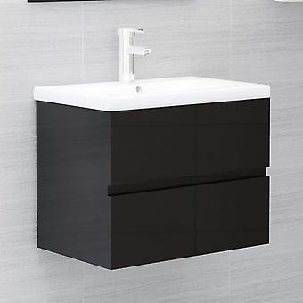vidaXL Wash basin cabinet high gloss black 60x38,5x45 chipboard