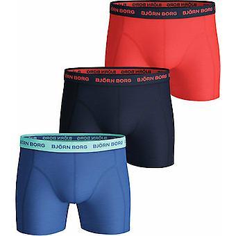 Björn Borg Men's Boxers - SEASONAL SOLID SAMMY SHORTS 3-PACK Ultramarine (Blue, Black, Orange)