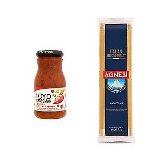 Loyd Grossman Kit met 2 producten | Zoete Rode PeperSaus 350g, Italiaanse Spaghetti 500g