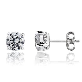 Eye Candy ECJ-ER0006 - Women's earrings in sterling silver 925 rhodium, with round white zircons, 7 mm