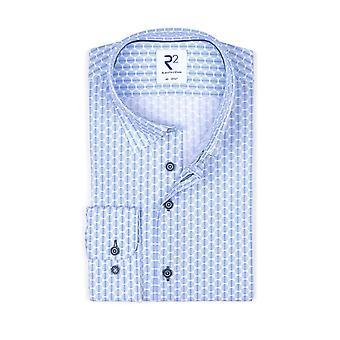 R2 Hidden Button Down Collar Long Sleeved Shirt Blue Spot