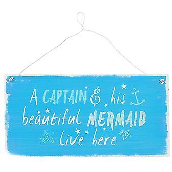 Kapten och sjöjungfru metall tecken