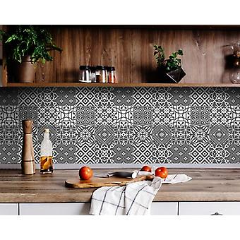 """4"""" X 4"""" Gray and White Mosaic Peel and Stick Removable Tiles"""