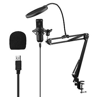 Usb condenser microphone set with desk mounting clamp scissor arm stand pop filter muff shock mount