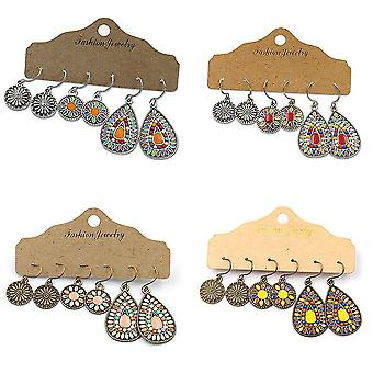 Alloy Dripping Oil Earrings Set Colored Water Drop Alloy Ear Hangings For Festival