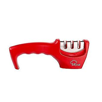 Knife Sharpener 3 Stages Professional Kitchen Sharpening Stone - Tungsten(Red)