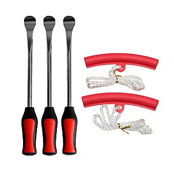 5 In 1 Tire Changing Set Tire Spoon Lever Tools Rim Protector Sheaths (red)