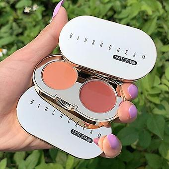 Two Color Mixing Stereo Cheeks Blush Cream Texture Baked Blush Face Base Mineral Blusher Palette