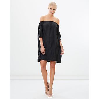 Off Shoulder Sandwash Silk Dress