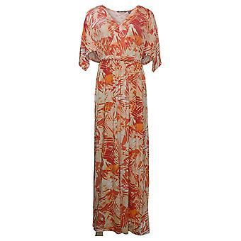 Lisa Rinna samling kjole trykt draper ermet maxi oransje A377525