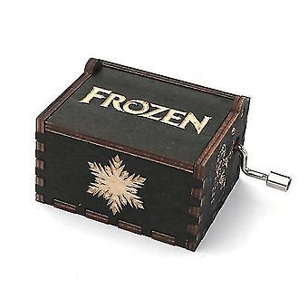Diseño antiguo Madera tallada Caja de música con manivela