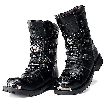 Men Military Boots Genuine Leather Motorcycle Boot