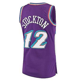 Men's Basketball Jersey #32 Karl Malone Utah Jazz #12 Stockton Purple Swingman Player Jersey Sports T-shirt Size S-xxl