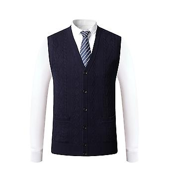 Mile Men V Neck Sweater Vest Sleeveless Knit Causal Buttons