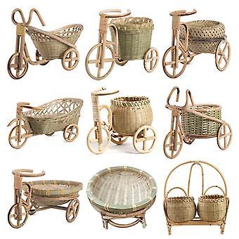 Mini Tricycle Rattan Woven Fruit Basket Bamboo Handmade Wicker Storage Basket